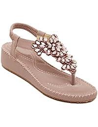 ZHIRONG Sandalias de cuñas de las mujeres Rhinestone de verano pies plegables estilo étnico Retro Beach Shoes...