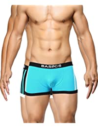 BASIICS by La Intimo Men's Black, Teal Body Boost Striped Trunk (Pack of 2)