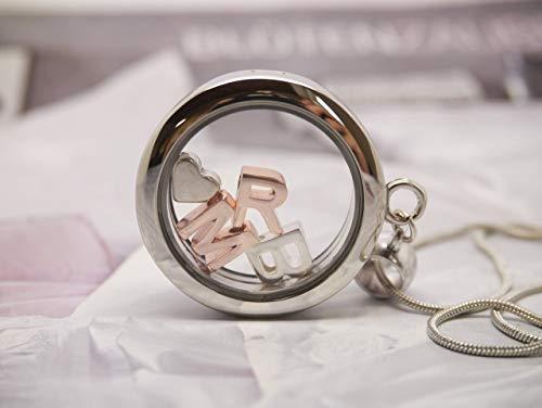 Personalisierte Medaillon Kette mit Buchstaben Alphabet Halskette Namenskette Initalien