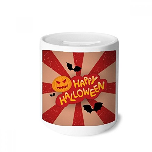 DIYthinker Karikatur Halloween Schriftarten Geld-Kasten Sparkassen Keramik Münzfach Kinder Erwachsene 3.5 Zoll in Height, 3.1 Zoll in Duruchmesser Mehrfarbig