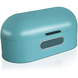 casa pura Boite à Pain Vintage Boite Conservation Pain | Boite Bleu | Acier Inoxydable | 33,6 x 18,4 x 20 cm - Ben
