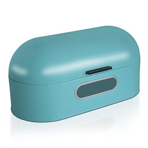 casa pura Brotkasten Ben mit Sichtfenster | Brotbox im Retro Design aus Metall | optimale Luftzirkulation | Hellblau - in Zwei Größen (B/T/H: 43,5x21,0x20,5 cm)