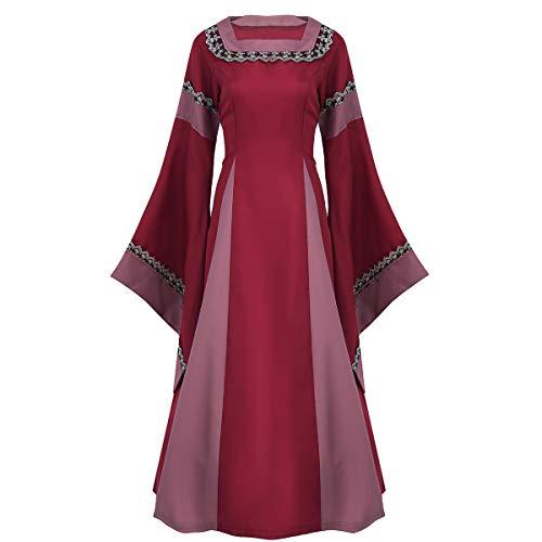 iixpin Damen Mittelalterkleid zum Schnüren Retro Kleid Rundhalskleider Halloween Kostüm Langarm Kleid Renaissance Gotisch Kleider rot, schwarz, blau, lila Rot ()