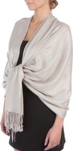 Sakkas tocco morbido silk pashmina sentire solido scialle / stole per donna-grigio argento