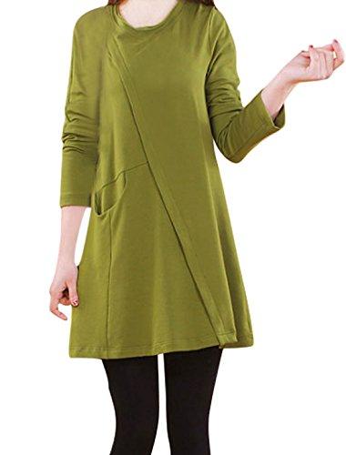 Femme Rond Cou Manches Longues Ample Droit Robe Vert