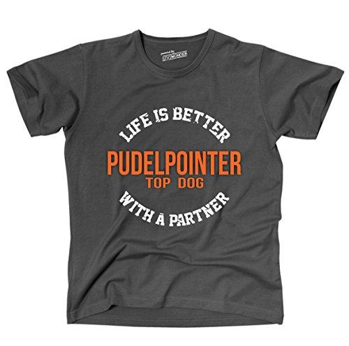 Siviwonder Unisex T-Shirt PUDELPOINTER - LIFE IS BETTER PARTNER Hunde Dark Grey