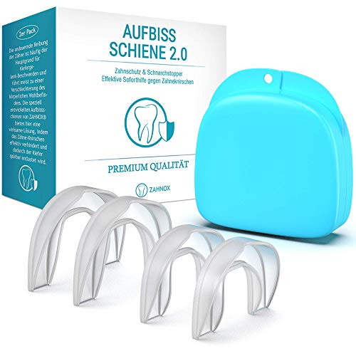 ZAHNOX© Premium Aufbissschiene [4er Set] - Verbessertes Konzept 2019 - Neuartige Knirscherschiene Zahnschiene gegen Zähneknirschen - Zähne Zahnschutz Beissschiene für die Nacht inkl. Transportbox