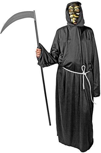 Henker Kutte Kapuze Maske Grim-Reaper Kostüm Robe Mönch-Kutte schwarz Halloween-Kostüm Tod (Gr. 54/56) Umhang Herren - Grim Reaper Robe Kostüm
