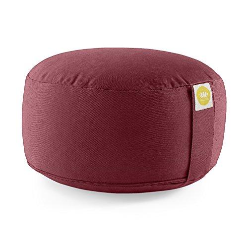 Meditationskissen /Yogakissen LOTUS Bezug: Baumwolle (kbA), GOTS zertifiziert (Bordeaux Rot)