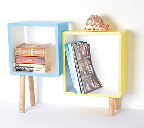 Armoire Murale Bois - 2étagères étagère en bois étagère cube étagère