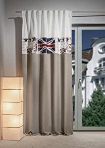 gardine fertigschal mit ansatz und applikation union jack neuartiges schlaufenband 140. Black Bedroom Furniture Sets. Home Design Ideas