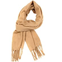 Sciarpa invernale Sakkas Booker effetto cashmere colore solido Unisex con frange