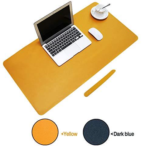 KEESIN Estera del escritorio de escritura impermeable del juego del ordenador portátil Estera del cojín de ratón del ordenador del cuero de la PU antideslizante extendida para la oficina y el hogar(Azul amarillo)