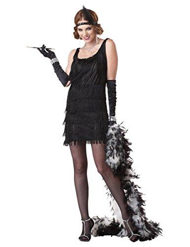 20er-Jahre Charleston Plus Size Damenkostüm Flapper schwarz (Kostüm Plus Size Kleid Flapper)