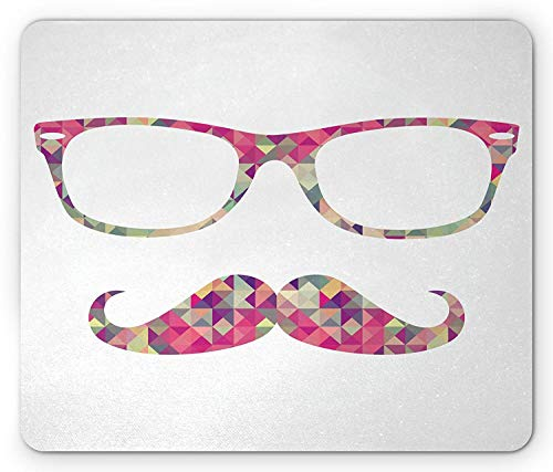 Mustache Mouse Pad, Colorful Vintage Hipster Elements of Chevron and Horn-Rimmed Glasses on Triangles, Standard Size Rectangle Non-Slip Rubber Mousepad, Multicolor