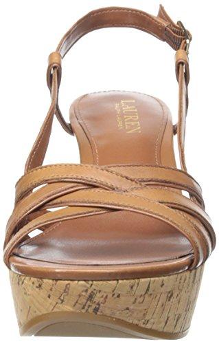 Lauren Ralph Lauren Quaylin Cuir Sandales Compensés Polo Tan