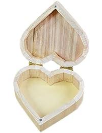 dragonaur Retro Love con forma de corazón de madera pendientes collar anillo de almacenamiento caso caja