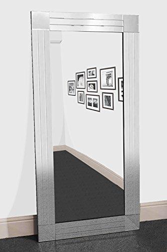 2-licht Abgeschrägten Glas (Groß Triple Silber abgeschrägten Modern alle Glas Wandspiegel 581x 2FT9(174cm x 85cm))