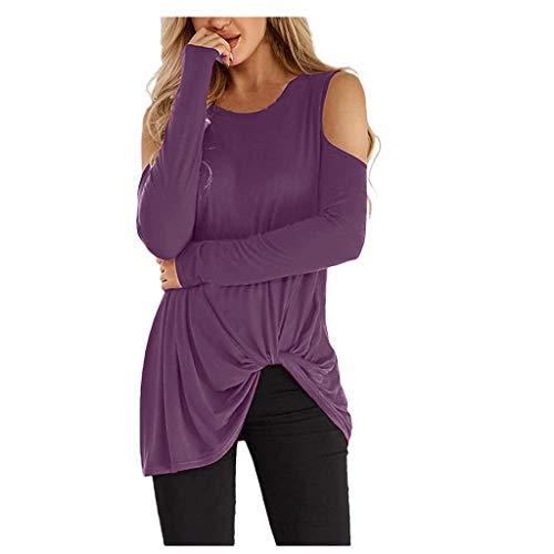 Lazzboy Langarmshirt Longshirt Damen Off-Shoulder Knotted Rundhals Top Sweatshirt Bluse Oberteile Schulterfrei Tunika Langarm(Lila,L)