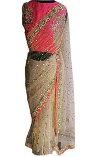 BikAw Women\'s Net Saree wthout Blouse (KT-3062, Beige ,Free Size)