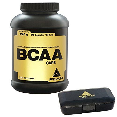 Peak BCAA Caps, 240 Kapseln, 1er Pack (1 x 228g) + Pillendose - Bcaa 240 Caps
