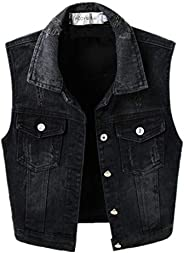 TXR Women Black Denim Vest Sleeveless Jean Cropped Vest Jacket with Chest Pockets