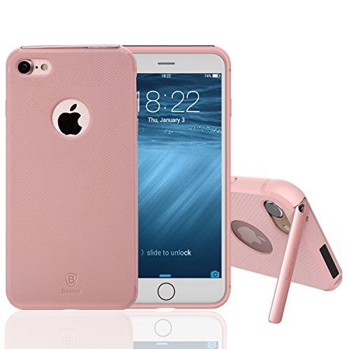 iPhone 7 Hülle, IVSO Ultra Slim Silikon Rückseite Schutzhülle mit Standfunction für Apple iPhone 7 4.7' Smartphone, Dark green Pink
