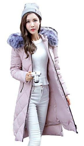 Bigood Femme Fashion Doudoune Longue Epaisseur de Chaud Slim Veste Manteau Parka Blouson A Capuche Rose