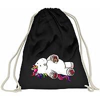 201cf35e46 Creativgravur®, zainetto con unicorno, colore nero, sacchetta sportiva,  borsa in stile
