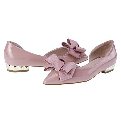 Damara Damen Lackleder Glitzer Ballerinas mit Zierschleife Pink Lila