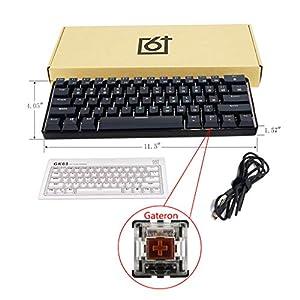 RGBIWCO – RGB LED Hintergrundbeleuchtung, kabelgebunden, mechanische Tastatur, tragbar, kompakt, wasserdicht, Mini-Gaming-Tastatur, 61 Tasten, Gateron-Schalter für PC und Mac