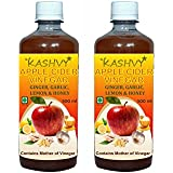 Kashvy Apple Cider Vinegar With Ginger, Garlic, Lemon & Honey | 100% Natural - Pack Of 2 (500 Ml Each)