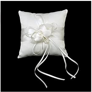 Phenovo SROVFIDY Lovely Bud Wedding Pocket Ring Pillow Cushion Bearer 15 x 15cm Ivory