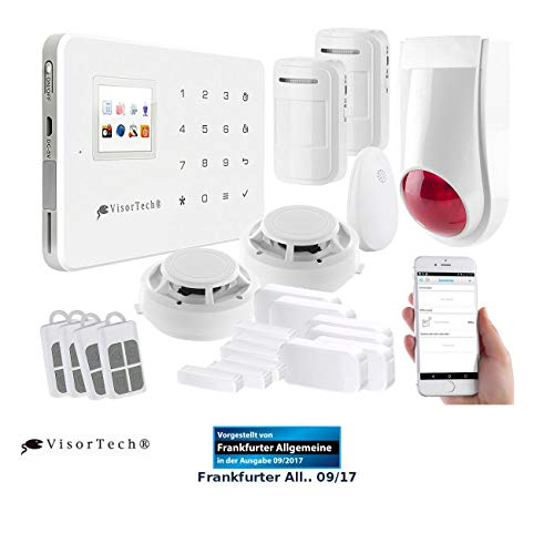 VisorTech Wireless Alarmanlage: Funk-Alarmanlage mit WLAN- & GSM-Anbindung, 17-teiliges Starter-Set (WiFi Alarmanlage)