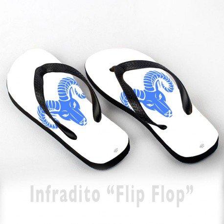 Infradito FlipFlop Personalizzate Segni Zodiacali Ariete Blu Sfondo Bianco Stilizzato