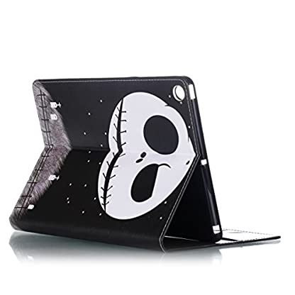 Ekakashop ipad 2017 9.7 Stand Case, ipad 2017 Cover Leather Retro, Fashion Colorful Painting Design Ultra Slim-Fit Flip PU Leather Book style Wallet Magnetic Built-in Stand Shockproof Full Protection Case Cover with Retina Display for Apple New ipad 2017 9.7 with 1*kickstand (color random), Skull 4