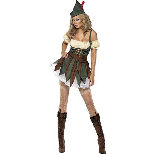 Fever, Damen Krieger Outlaw Kostüm, Kleid, Ärmel, Hut und Gürtel, Größe: M, (Freien Nächsten Versand Kostüme Tag)