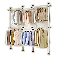 Heavy Duty Telescopic Wardrobe Organizer, Movable Hanging Rail, Garment Rack, DIY By Hand, No Damage to Walls or Ceiling, Fit High Ceiling Up to 3.2m, Clothes Wardrobe 4 Poles 6 Bars, [3206]