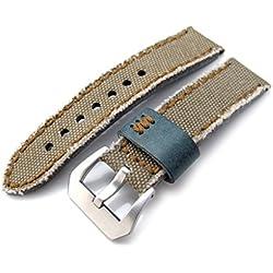 20mm MiLTAT Zizz Khaki Washed Canvas Watch Strap, Brown Wax Hand Stitching
