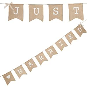 Ginger Ray Hessian Vintage Burlap Just Married Rustic Wedding Bunting