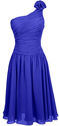 MACloth Women Short Bridesmaid Dress One Shoulder Wedding Cocktail Party Gown Royal Blue