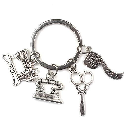 Zyhoue Schlüsselanhänger Mode zubehör Nähmaschine Eisen Schere lineal Schlüsselanhänger Schneider Schlüsselanhänger Quilter Schlüsselanhänger Silber Designer Geschenke -