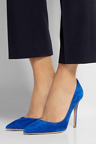 EDEFS Femmes Artisan Fashion Escarpins Délicats Classiques Elégants Pointus Des Couleurs Chaussures à talon de 100mm Noir Brillant Bleu