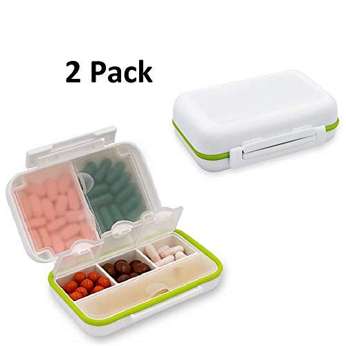 Atrigger Pillendose Tablettenbox Wasserdichter Pillenbox Tablettendose mit 6 Fächern, 2pcs/Pack