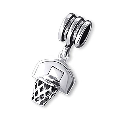 Hanging Basketball Sterling Silver Bead Charm by Kate Benson - Fits Pandora Bracelets