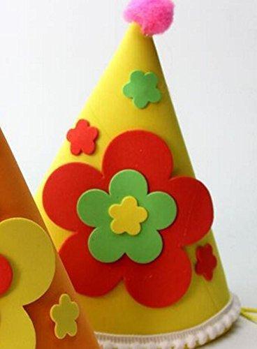 Applique Cap (Heylookhere Creative Party Hut Zubehör Aufkleber Applique Geburtstag Cap Kinder Geburtstag Dekoration Plum Blossom Muster Cap_Yellow)