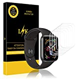 K&L LK Schutzfolie für Apple Watch Series 4, Liquid Skin [6 Pack 40mm Series 4], [Vollständige Abdeckung] [Blasenfreie] HD klar Flexible Folie for Apple Watch Schutzfolie, 40mm Series 4