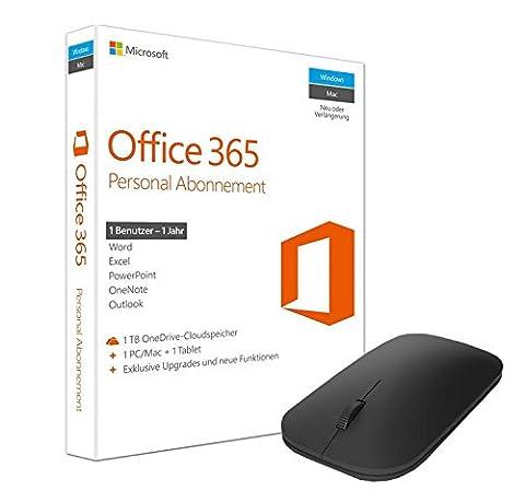 Microsoft Office 365 Personal - 1 PC/MAC - 1 Jahresabonnement + Microsoft Designer Bluetooth Mouse