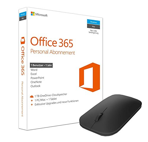 Microsoft Office 365 Personal - 1 PC/MAC - 1 Jahresabonnement + Microsoft Designer Bluetooth Mouse (Office 365 Software)