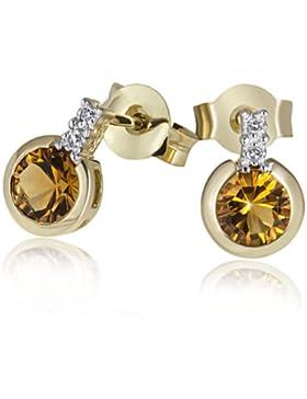 Goldmaid Damen-Ohrstecker 585 Gelbgold 4 Diamanten  2 Citrine Ohrringe Schmuck